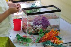 Aquariums on the discovery table by Teach Preschool