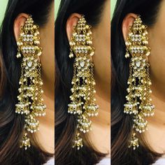 Grab these beautiful inspired earrings now available at our store . Indian Jewelry Earrings, Indian Jewelry Sets, Indian Wedding Jewelry, Antique Earrings, Gota Patti Jewellery, Heavy Earrings, Antique Jewellery Designs, Jewelry Editorial, Stylish Jewelry