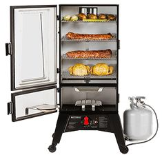 Vertical gas smokers are to easy to use. With Masterbuilt's ThermoTemp line, smo. Vinegar Bbq Sauce, Propane Smokers, Kobe Beef, Offset Smoker, Barbecue Sauce Recipes, Thing 1, Beef Ribs, Rib Recipes, Corned Beef
