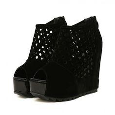 #Black #Chunky #Platform #Mesh #OpenToe #Wedges #AnkleBoots £34.99 @ ShanghaiTrends.co.uk  /  http://shanghaitrends.co.uk/black-chunky-platform-mesh-open-toe-wedge-ankle-boots