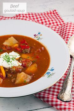 Beef goulash soup is hearty and quite filling, perfect as a main course during rainy or cold days. Filled with all kinds of veggies and smoked paprika.