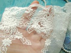 White  Lace Trim, Embroidered tulle lace, retro Florals lace fabric, wedding trim lace, home decors