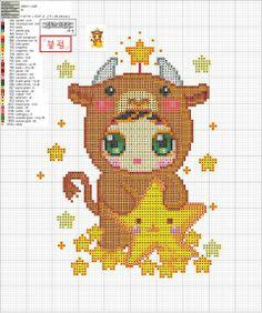 Zodiac Baby Taurus Cross Stitch Pattern 2/2