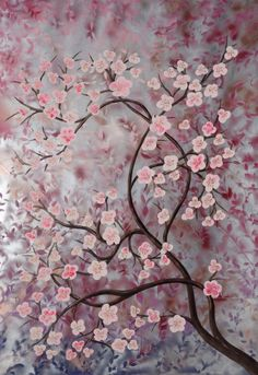 """Cherry Blossom Tree Sakura"" (2015)Art Silver Pink Painting on unstretched Canvas - can hang horizontally or vertically it's by artist Ksavera, Acrylic painting by Ksavera on Artfinder ♥•♥•♥"