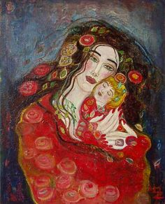 Painting by Anne-Marie Zilberman. Anne Marie Zilberman, Claudia Tremblay, France Art, Surrealism Painting, Madonna And Child, Art Themes, Art Graphique, Heart Art, French Artists