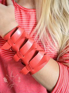 Extra wide leather wrist guard Large red leather bracelet cuff Statement leather arm guard Christmas extra large wrist cuff Christmas gift