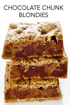 Chunky and chewy, these are the easiest and best Chocolate Blondies. #BiteMeMore #blondies #recipes