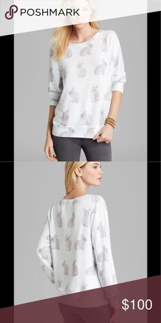 Wildfox snow buns pullover bunny print Wildfox pullover with cute bunny print like new condition light mint green color with grey bunnies Wildfox Tops