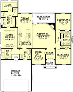 Ranch Style House Plan - 3 Beds 2 Baths 1778 Sq/Ft Plan #430-88 Main Floor Plan - Houseplans.com