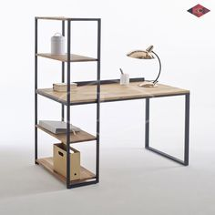 Hiba Steel/Solid Oak Desk with Shelving Unit LA REDOUTE INTERIEURS Industrial style furniture in solid joined oak and metal, providing 2 pieces of furniture in one. The Hiba desk-shelving unit combines contemporary. Solid Oak Bookcase, Solid Oak Desk, Bookcase Desk, Desk Shelves, Desk Cabinet, Metal Bookcase, Office Shelving, Office Storage, Iron Furniture
