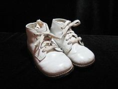 Vintage Hard Sole White Leather Infant Shoes ~ combat boots for babies