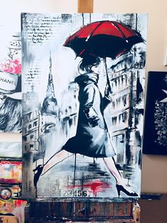 Contemporary Art Print on Canvas Parisienne by Lana Moes
