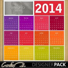 Digital Scrapbooking Kits | 2014 Colorful 12x12 Calendar 1-(carolnb) | Birthdays, Calendars, Craftable - Printables, Everyday, Holidays - New Years | MyMemories