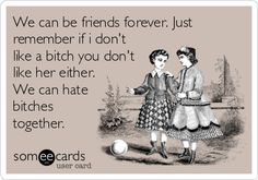 We can be friends forever. Just remember if i don't like a bitch you don't like her either. We can hate bitches together.