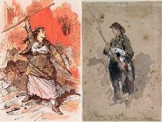 L'image à droite est une illustrations de la costume des femmes militantes dans la Commune (Les Fédérées). L'illustration à gauche dépeint l'image diabolique conçue par la public des « Pétroleuses »: un titre donné aux femmes qui ont supposément incendié les bâtiments de Paris pour défendre la Commune