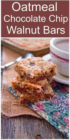 Oatmeal Chocolate Chip Walnut Bar- A fantastic combination of oats, butter, chocolate chips and walnuts in a tender chewy bar made in a jelly roll pan.