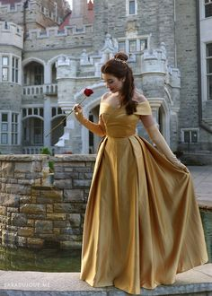 I have a bone to pick with Disney and the live-action remake of Beauty and the Beast. But let's talk about this Belle gold dress costume first, rant later. Disney Bound Outfits, Disney Dresses, Satin Formal Dress, Formal Dresses, Belle Cosplay, Disney Cosplay, Bolo Barbie, Beauty And Beast Wedding, Off Shoulder Gown