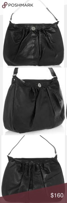 TORY BURCH Verona Black Leather Hobo Handbag Gorgeous black hobo style leather bag for Tory Burch.  Soft,  supple leather.  Tan cloth interior with a small stain,otherwise good condition.  See pic.  Exterior is in fabulous condition.    So much life left in this bag,  as it was only carried for a few months.  Black leather,  silver hardware. Tory Burch Bags Hobos