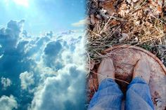 Head up in the clouds vs feet on the ground
