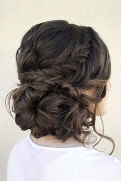 Loose serpentine braids make this updo standout. Hair & Makeup by Steph, Wedding Hairstyles, Hair Updos Up Hairstyles, Pretty Hairstyles, Bridal Hairstyles, Medium Hairstyle, Bridesmaids Hairstyles, Simple Homecoming Hairstyles, Long Hair Formal Hairstyles, Hairstyle Ideas, Updo For Long Hair