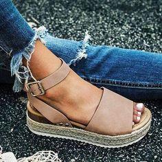 Women Sandals Plus Size Wedges Shoes For Women High Heels Sandals Summer Shoes 2019 Flip Flop Chaussures Femme Platform Sandals - Beige Cute Sandals, Cute Shoes, Wedge Sandals, Women's Shoes, Summer Sandals, Heeled Sandals, Sandals Outfit, Summer Wedges, Flat Shoes