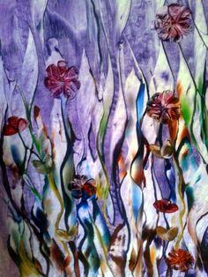 encaustic. Purple Sea reeds