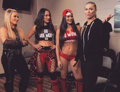Natalya, Brie, Nikki, and Ronda The Bella Twins, Bella Sisters, Nikki And Brie Bella, Wrestling Stars, Wrestling Divas, Women's Wrestling, Wwe Backstage, Wwe Total Divas, Catch