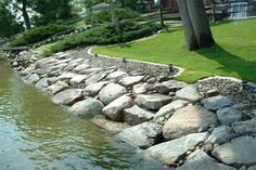 Lakeshore riprap with a nice flat stone stair.