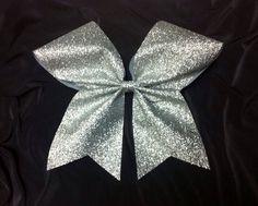 Silver Glitter Cheer bow/Glittery cheer bow/Bling Cheer /3 inch base ribbon/ Silver Sparkle cheer bow/ softball bow