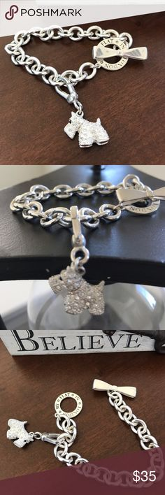 "Brighton My Flat London Toggle Charm Bracelet Brighton My Flat In London Toggle clasp closure. Scotty Dog crystal Charm Bracelet. Only one a couple times. So cute in great condition 7"". Brighton Jewelry Bracelets"