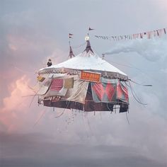 Laurent Chéhère, Flying Houses – Cirque, 2012 © Courtesy of the artist and Galerie Paris-Beijing Concours Photo, Night Circus, Photocollage, French Photographers, Belle Photo, Fairy Tales, Art Photography, Carnival Photography, Levitation Photography