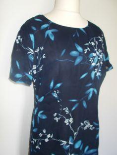 Vintage dress 90s St Michael navy floral short sleeve dress size large L by BidandBertVintage on Etsy