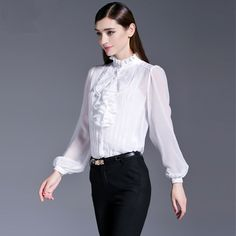 214a3baa289 Click to Buy    European OL Ladies Office Shirts Work Wear 2017 Spring Long  Sleeve Ruffle Chiffon Silk Blouse Women Elegant Slim tops  Affiliate