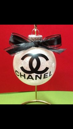 Chanel Christmas ornament I made #glitter #vinyl