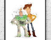 Toy Story Print Art Buzz Woody Poster Disney art by InkistPrints