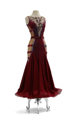 SIZE: S Burgundy with nude Sides and jewel belt attached Ballroom Costumes, Ballroom Dance Dresses, Dance Costumes, High Fashion, Fashion Beauty, Luxury Dress, Dance Outfits, Costume Design, Evening Gowns
