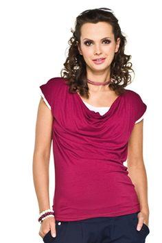 Letní vínové těhotenské tričko na kojení V Neck, Tops, Fashion, Moda, Fashion Styles, Fashion Illustrations