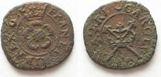 1635-1644 England CHARLES I Rose Farthing ND(1635-44) copper VF+ # 95277 VF+
