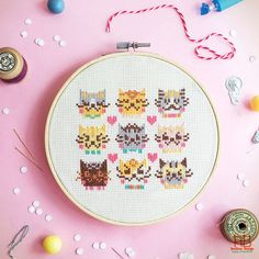 Modern Funny Cute Cross stitch pattern PDF - I Love Catsss NEW color way for our lovely catsss ...  Cats are cute and soft, give us a lot of joy!!! There are 9 different adorable kitten face with love. A warm love cross stitch pattern for kitten lover!!! A wonderful and easy pattern you can make for your sweet home and gift !!  **Want a KIT from this pattern? Here : http://etsy.me/1MusMTQ **Want a Finished Cross Stitch Work for this pattern ? Please convo us…
