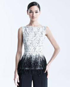 Sleeveless Lace Blouse with Feather Trim by Carolina Herrera at Bergdorf Goodman.