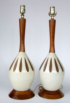 Vintage Mid Century Teak and Ceramic Retro table lamps