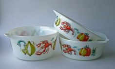 Mid Century Pyrex Set of Three Casserole Dishes. Three sizes, Vegetable, lobster and fish motif. by gardenfullofVintage on Etsy