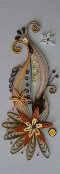 Neli Quilling Art: Quilling card orange and brown