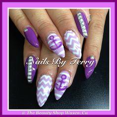 Purple stilettos gel nails