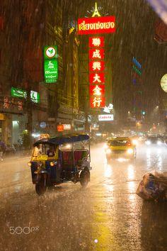 Tuk Tuk rain, Bangkok, Thailand