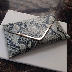 Vegan Snakeskin Envelope Bag