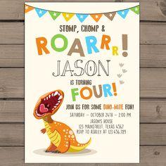 Dinosaurio Cumpleanos Invitacion Por Anietillustration