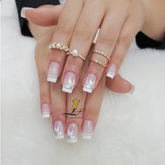 The wedding manicure - the beauty of the bride is in the smallest details - My Nails Acrylic French Manicure, French Nails, Acrylic Nails, French Manicures, Blue Nails, White Nails, My Nails, Nail Pink, Black Nail