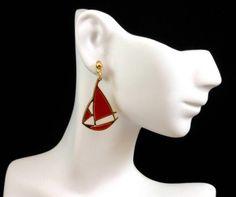Vtg Nautical Red Enamel Gold Plated Sailboat Dangle Earrings for Pierced Ears $14.00 SOLD