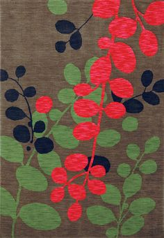 KARASTAN. Poppy red, olive green, and black vines sway on a solid ground in a modern landscape in Martha's Path from the Panache Collection. They are woven of super-soft nylon fibers on Van de Weile looms. Featured in the May 6, 2013, Issue of Furniture Today. #Rugs